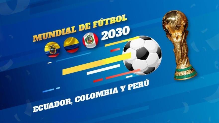 Imagen difundida por el presidente ecuatoriano, Lenín Moreno, en su cuenta en Twitter, para proponer a Colombia y Perú organizar juntos el Mundial 2023.