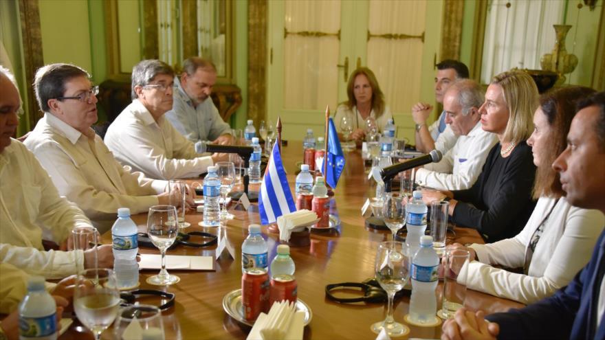 Delegaciones de la Unión Europea y Cuba en una reunión en La Habana, capital, 8 de septiembre de 2019.