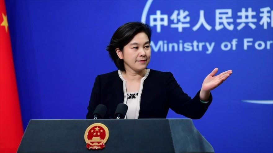 La portavoz del Ministerio de Asuntos Exteriores de China, Hua Chunying, durante una rueda de prensa en Pekín, la capital.