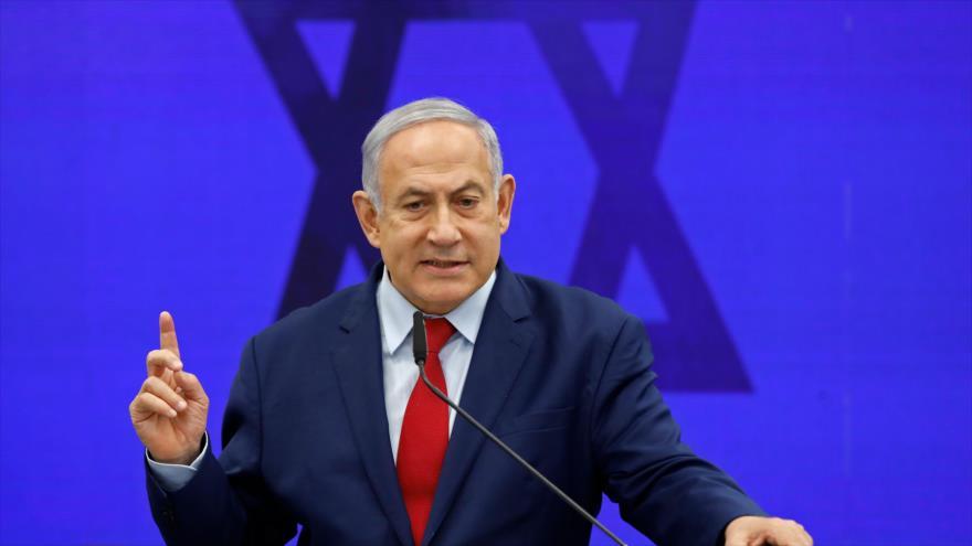 El primer ministro israelí, Benjamín Netanyahu, durante un acto en Ramat Gan, cerca de Tel Aviv, 10 de septiembre de 2019. (Foto: AFP)