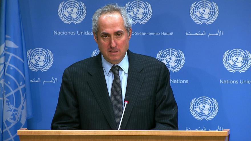 El portavoz de la Organización de las Naciones Unidas (ONU), Stéphane Dujarric, en una rueda de prensa celebrada en Nueva York