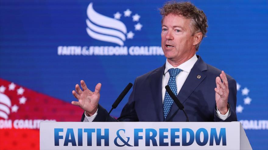 El senador republicano Rand Paul habla en un mitin político celebrado en Washington DC, el 27 de junio de 2019. (Foto: AFP)