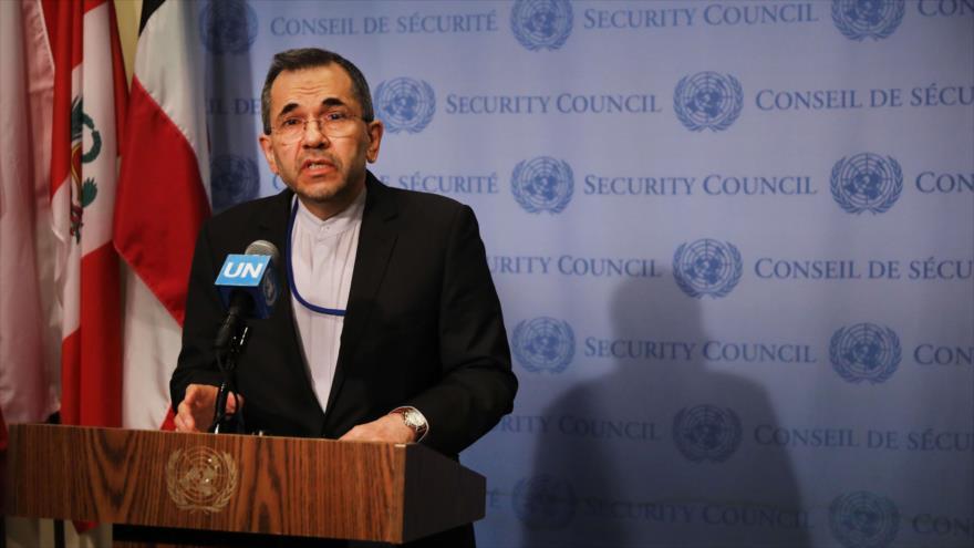 Majid Takht Ravanchi, embajador de Irán ante las Naciones Unidas (ONU) en Nueva York, 24 de junio de 2019. Foto: (AFP).