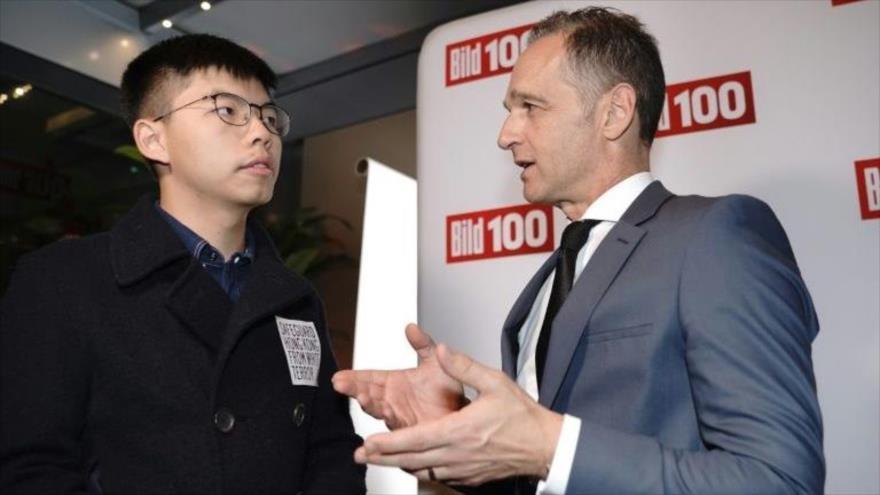 La reunión entre el activista de Hong Kong Joshua Wong con el ministro de Asuntos Exteriores alemán, Heiko Maas, 9 de septiembre de 2019.