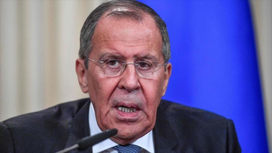 El canciller ruso, Sergei Lavrov, en una conferencia de prensa tras reunirse con su homólogo francés en Moscú, 9 de septiembre de 2019. (Foto: AFP)