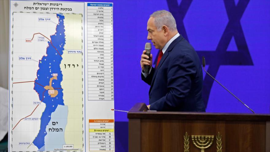 El primer ministro de Israel, Benjamín Netanyahu, explica sus planes de anexión de más partes de Cisjordania, 10 de septiembre de 2019. (Foto: AFP)