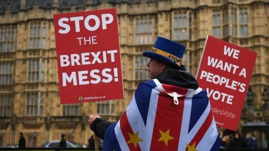 Un ciudadano británico protesta contra el Brexit, salida del Reino Unido de la Unión Europea (UE).