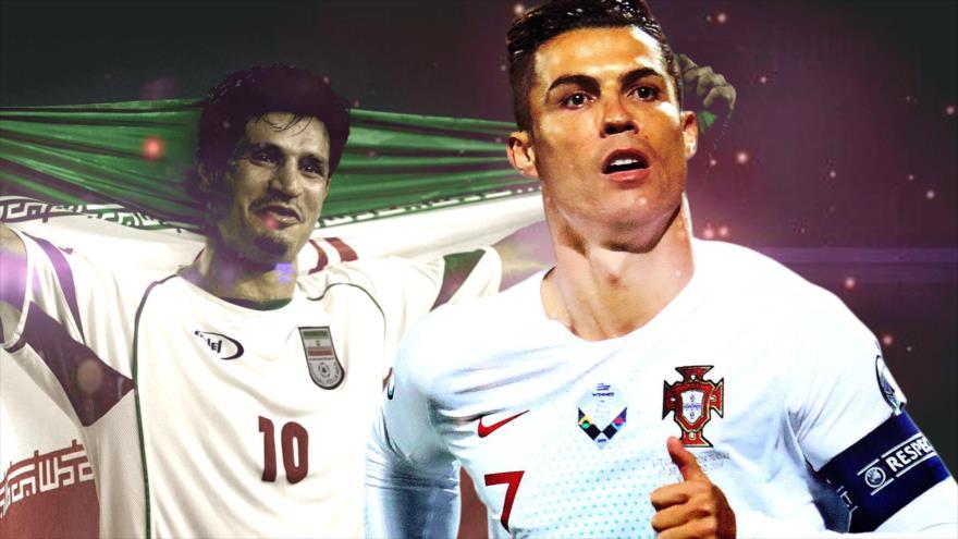 La otrora estrella del fútbol iraní Ali Daei (izq.) y el portugués Cristiano Ronaldo.