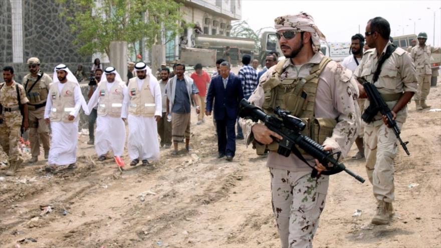 Las tropas de los Emiratos Árabes Unidos (EAU) en la ciudad de Adén, sur de Yemen.