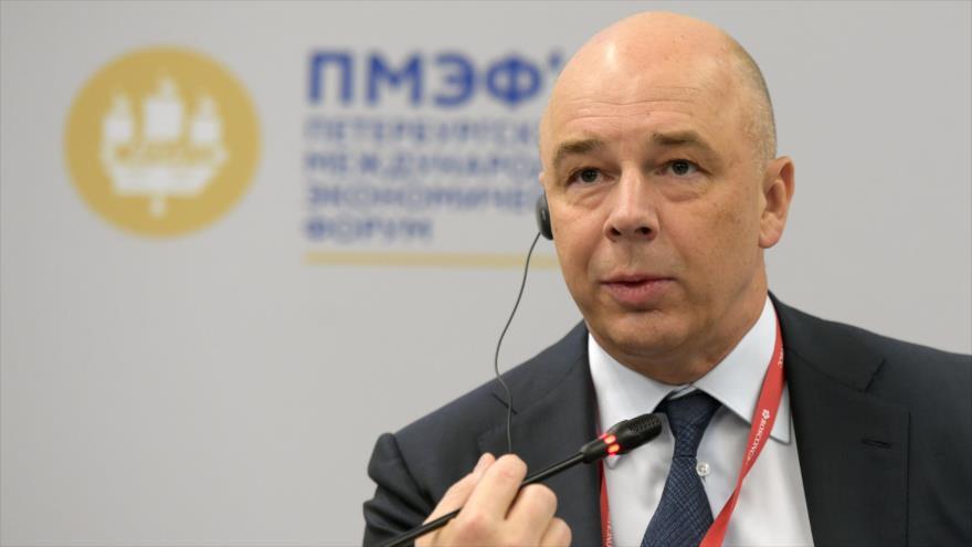 El ministro de Finanzas ruso, Anton Siluanov en San Petersburgo, Rusia, 6 de junio de 2019. (Foto: AFP)