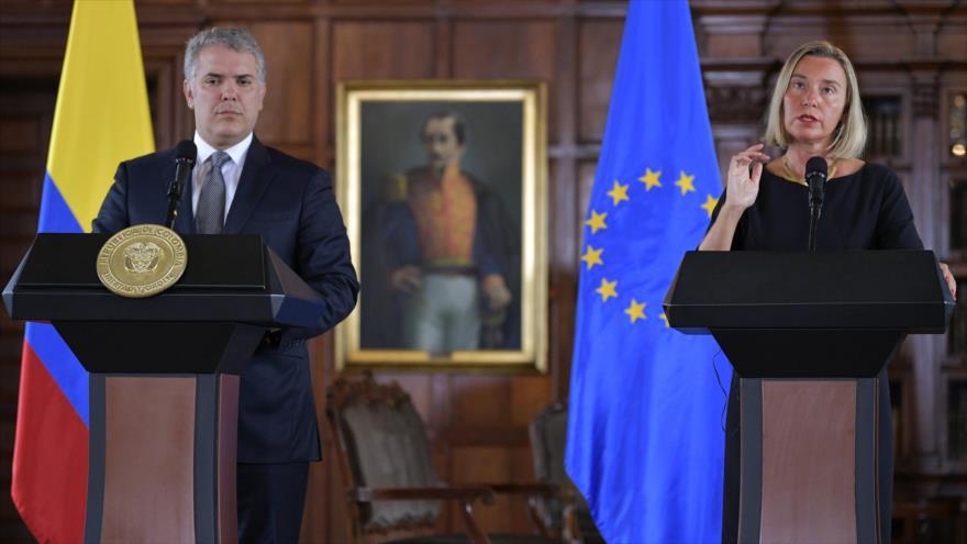 El presidente de Colombia, Iván Duque, y la alta representante de la UE, Federica Mogherini, en Colombia, 12 de septiembre de 2019. (Foto: AFP)