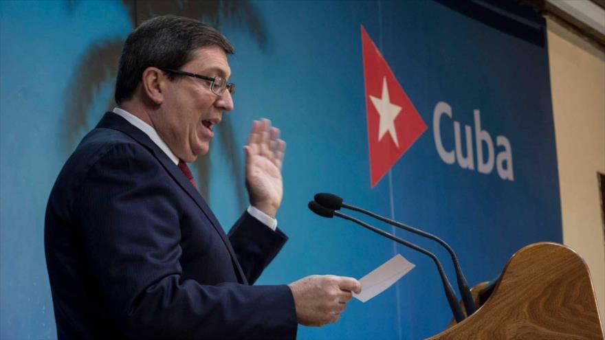 El canciller cubano, Bruno Rodríguez, ofrece una conferencia de prensa en La Habana (la capital). (Foto: EFE)