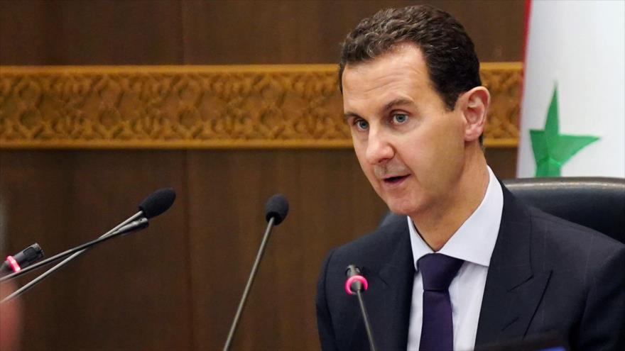 El presidente de Siria, Bashar al-Asad, en una reunión de su Gabinete en Damasco, la capital, 14 de mayo de 2019. (Foto: AFP)