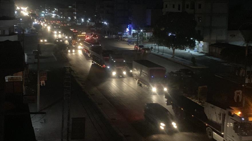 Entrada de un convoy logístico y militar de EE.UU. a la ciudad de Qamishli en Siria, 15 de septiembre de 2019. (Foto: SANA)
