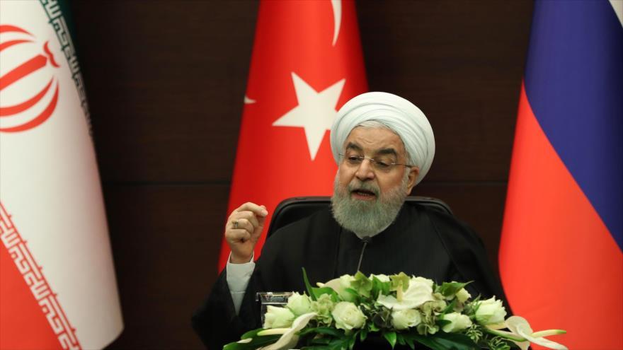 El presidente iraní, Hasan Rohani, habla en una rueda de prensa en Ankara (capital turca), 16 de septiembre de 2019. (Foto: AFP)