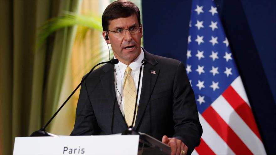El secretario de Defensa de EE.UU., Mark T. Esper, en una rueda de prensa en Francia, 7 de septiembre de 2019. (Foto: AFP)