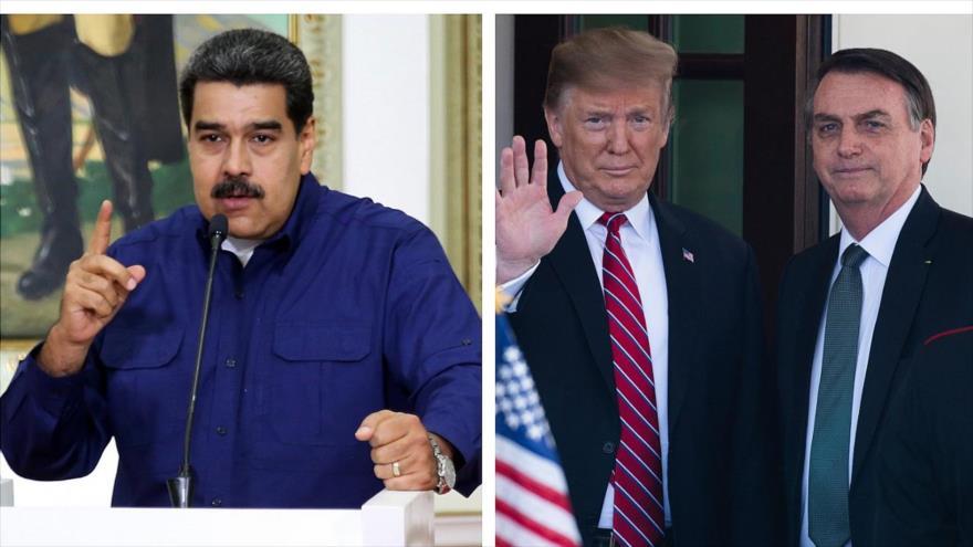 (De izq. a dcha.) El presidente venezolano, Nicolás Maduro, y sus pares de EE.UU. y Brasil, Donald Trump y Jair Bolsonaro, respectivamente.