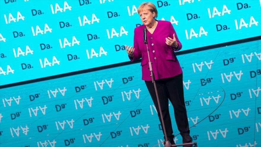 La canciller de Alemania, Angela Merkel, ofrece un discurso en Frankfurt, 12 de septiembre de 2019. (Foto: AFP)