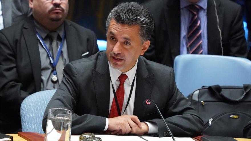 El embajador de Bolivia ante la ONU, Sacha Llorenti, habla en una sesión del CSNU, 27 de septiembre de 2018. (Foto: AFP)
