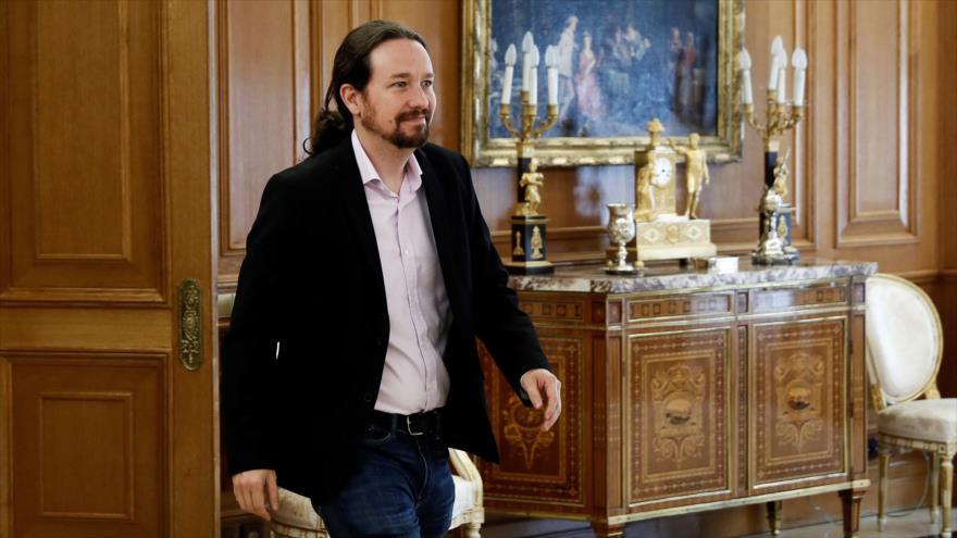 El líder de Unidas Podemos, Pablo Iglesias, en audiencia con el rey de España, Felipe VI, celebrada en Madrid, 17 de septiembre de 2019. (Foto: AFP)