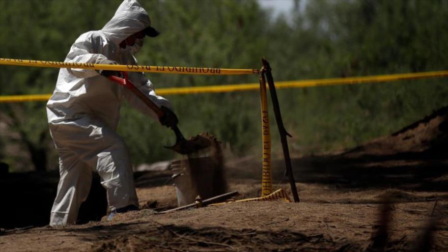 Un forense busca restos humanos en el estado de Jalisco en México, donde fue encontrada una fosa clandestina.