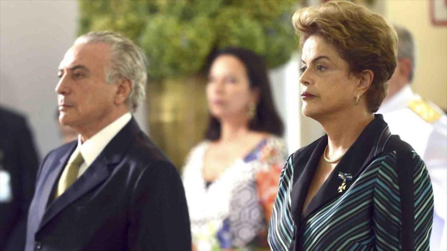 El espresidente brasileño Michel Temer (2016-2018) durante un acto, junto a la expresidenta Dilma Rousseff (2011-2016).
