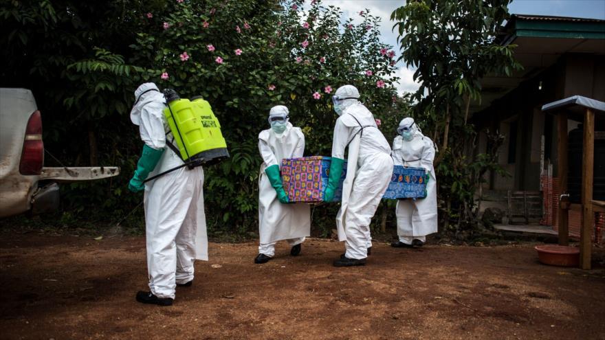 Trabajadores de salud llevan el cuerpo de un hombre muerto por la enfermedad del Ébola en la República Democrática del Congo, 22 de agosto de 2018. (Foto: AFP)
