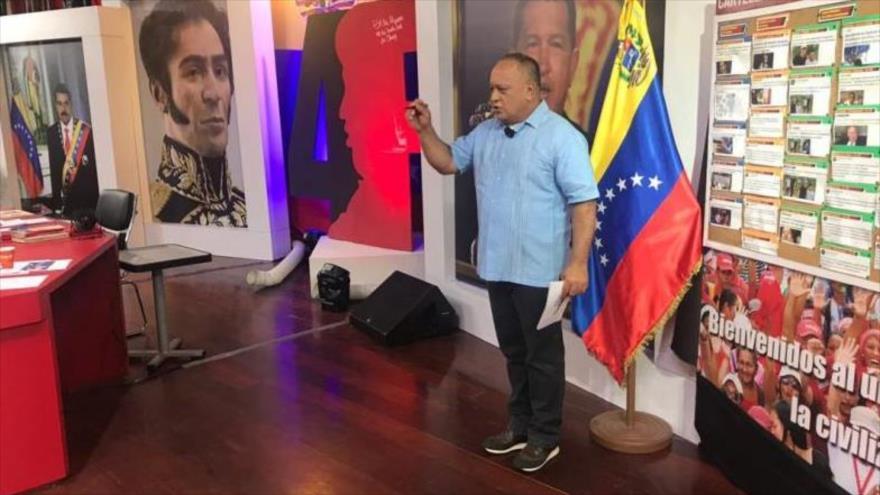 El líder chavista, Diosdado Cabello, en su programa semanal Con el Mazo Dando, Caracas, capital de Venezuela, 18 de septiembre de 2019.