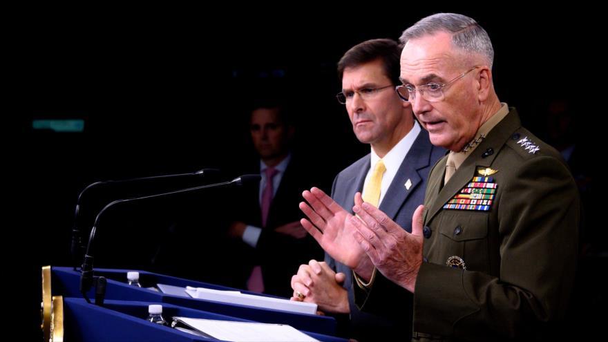 El jefe del Estado Mayor Conjunto de EE.UU., el general Joseph Dunford, habla en una rueda de prensa, Washington, 28 de agosto de 2019. (Foto: AFP)