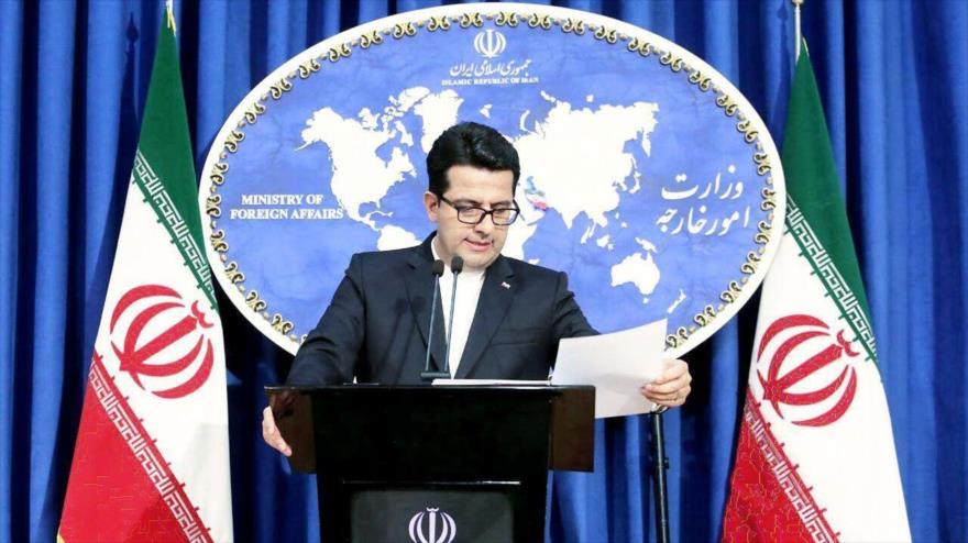 El portavoz del Ministerio de Exteriores iraní, Seyed Abás Musavi, en una rueda de prensa en Teherán (capital persa).