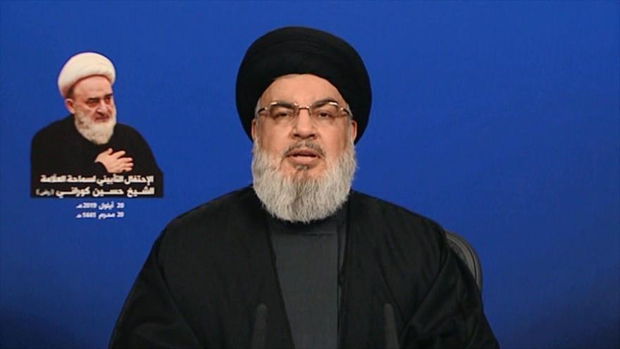 El líder del Movimiento de Resistencia Islámica de El Líbano (Hezbolá), Seyed Hasan Nasralá, ofrece un discurso televisado, 20 de septiembre de 2019.