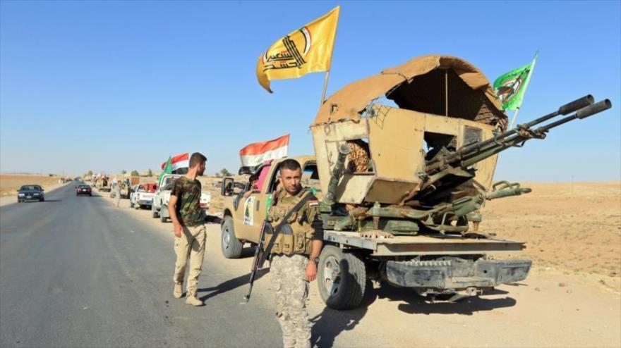 Las Unidades de Movilización Popular de Irak (Al-Hashd Al-Shabi, en árabe) en la frontera iraquí-siria.