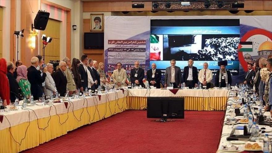 La VI Conferencia Nuevo Horizonte en Teherán, capital de Irán, que abordó las políticas represivas del régimen israelí contra el pueblo palestino.