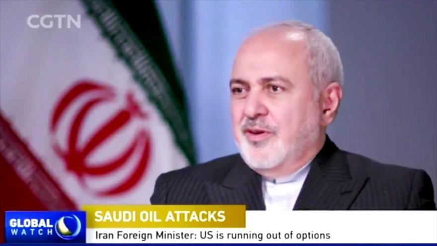 El canciller de Irán, Mohamad Yavad Zarif, en una entrevista concedida a la cadena china CGTN, 22 de septiembre de 2019.