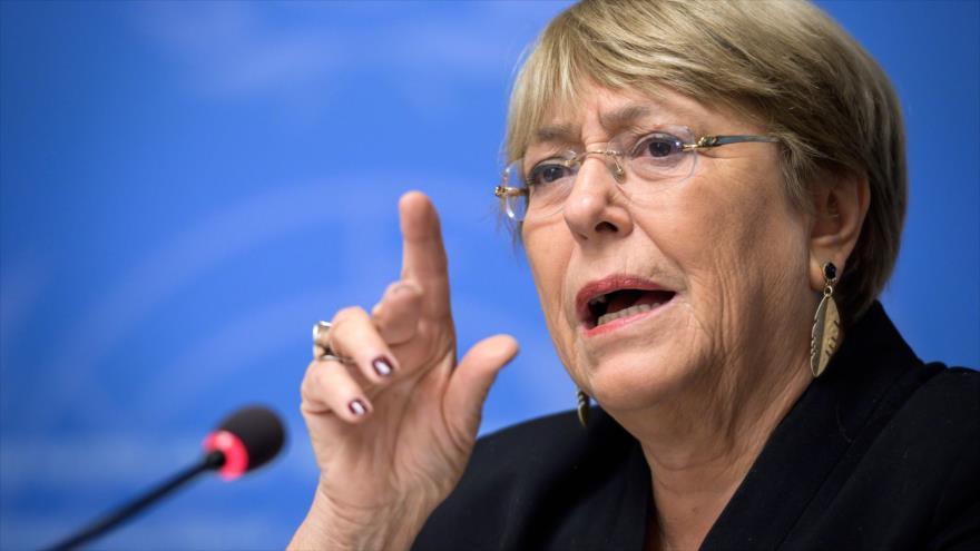 La alta comisionada de Derechos Humanos de la ONU, Michelle Bachelet, habla con la prensa en Ginebra (Suiza), 4 de septiembre de 2019. (Foto: AFP)