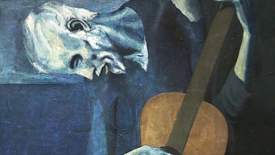 """El cuadro """"El viejo guitarrista ciego"""" del pintor español Pablo Picasso."""