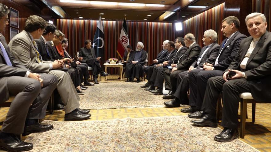 Delegaciones de Irán (dcha.) y Paquistán reunidas en Nueva York, 23 de septiembre de 2019. (Foto: President.ir)