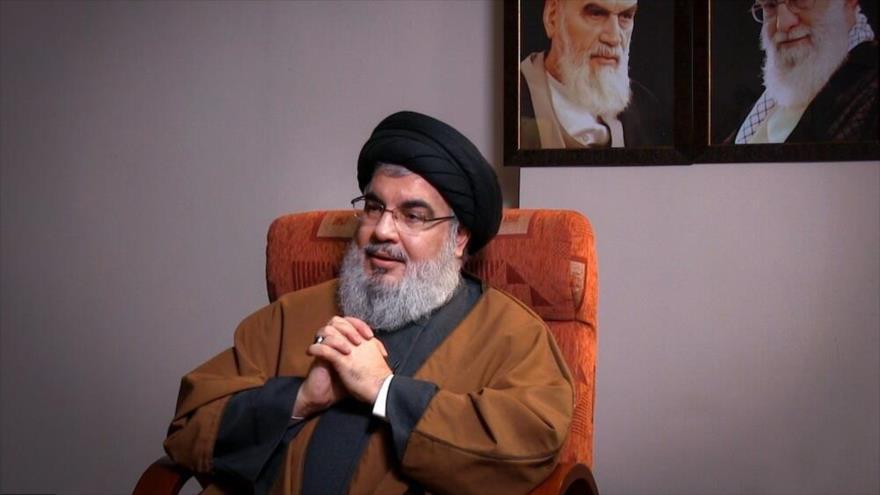 El líder del Movimiento de Resistencia Islámica de El Líbano (Hezbolá), Seyed Hasan Nasralá, durante una entrevista emitida por la televisión iraní.