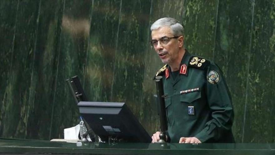 Jefe del Estado Mayor de las Fuerzas Armadas de Irán, Mohamad Hosein Baqeri, habla en el Parlamento nacional, 24 de septiembre de 2019. (Foto: Icana)