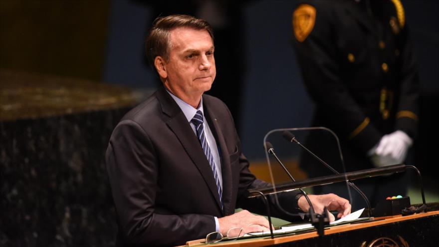 El presidente de Brasil, Jair Bolsonaro, habla en la Asamblea General de las Naciones Unidas, 24 de septiembre de 2019. (Foto: AFP)