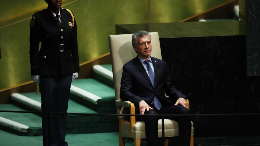 Mauricio Macri, presidente de Argentina, en la Asamblea General de Naciones Unidas (AGNU), 24 de septiembre de 2019. (Foto: AFP)