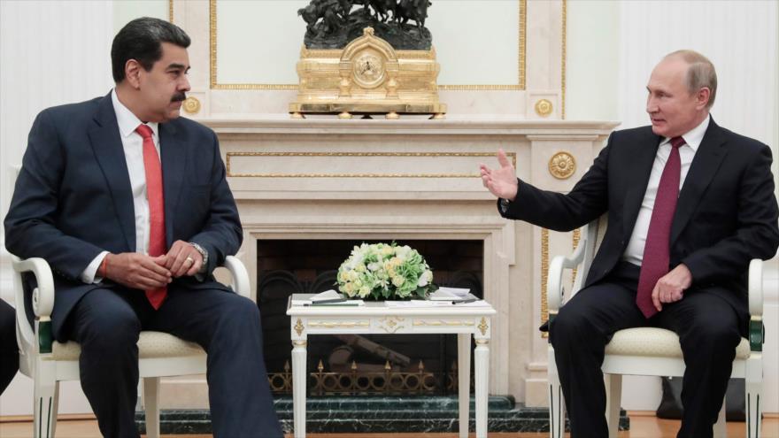 El presidente venezolano, Nicolás Maduro (izda.), en una reunión con su par ruso, Vladimir Putin, Moscú, 25 de septiembre de 2019. (Foto: AFP)