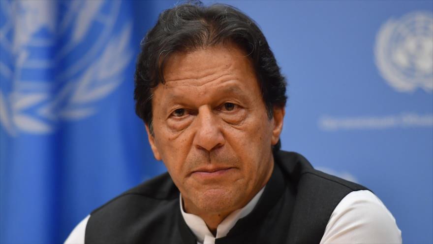 El premier de Paquistán, Imran Jan, habla en una rueda de prensa en la sede de la ONU en Nueva York (EE.UU.), 24 de septiembre de 2019. (Foto: AFP)