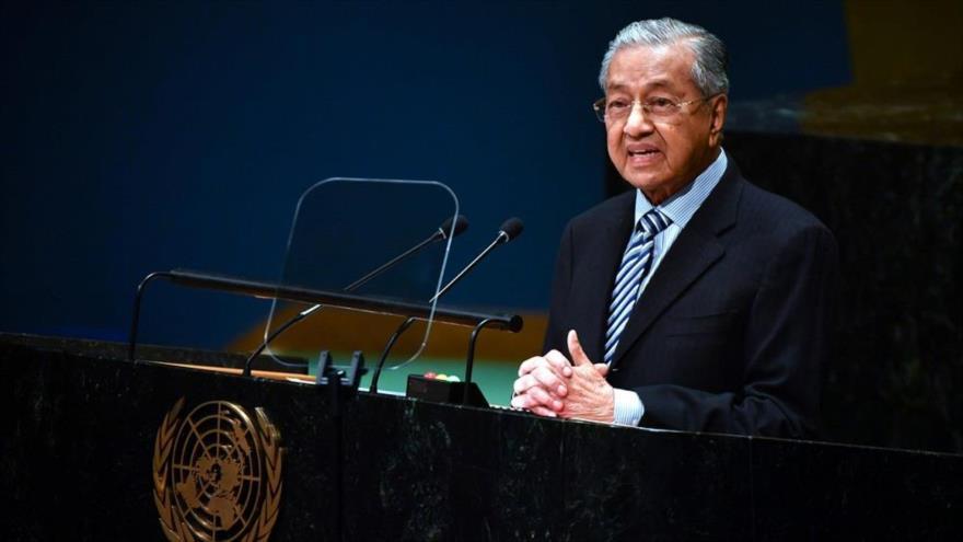 El premier malasio, Mahathir Mohamad, ofrece discurso ante el 74.º período de sesiones de la Asamblea General de la ONU, 27 de septiembre de 2019. (Foto. AFP)