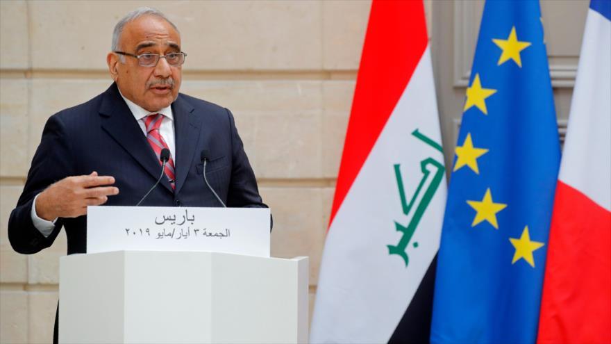 El primer ministro de Irak, Adel Abdul-Mahdi, en un discurso en Francia, 3 de mayo de 2019. (Foto: AFP)