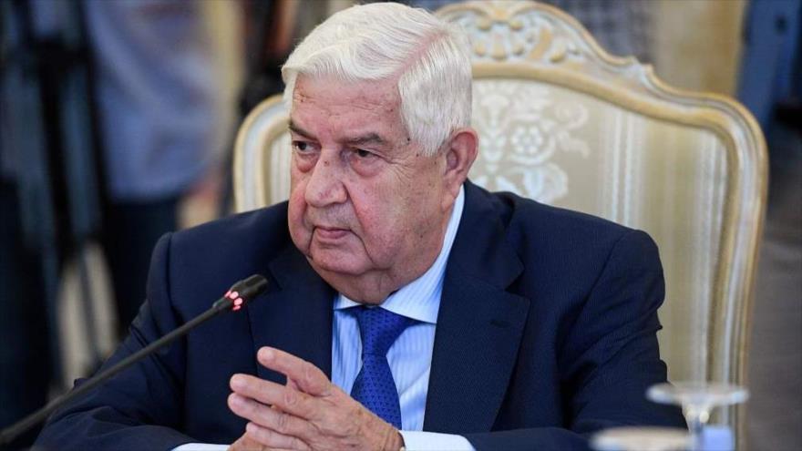 El canciller sirio, Walid al-Moalem, durante una reunión en Moscú, capital de Rusia, 30 de agosto de 2018.