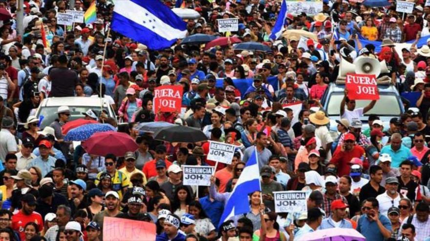 Multitudinaria protesta en Honduras en contra del presidente del país, Juan Orlando Hernández, 3 de octubre de 2019.