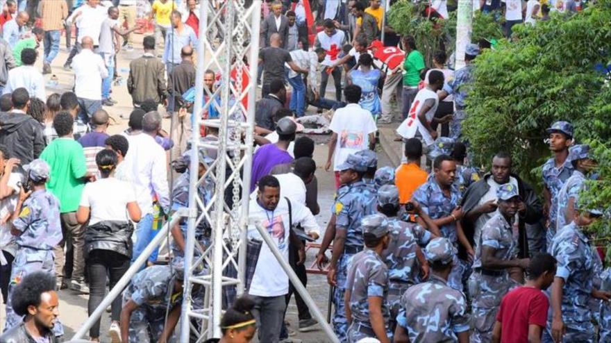 La escena de la explosión de una granada en un mitin de apoyo al primer ministro de Etiopía, Abiy Ahmed, 23 de junio de 2018.