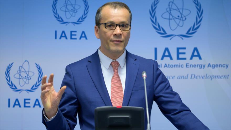 Cornel Feruta, el director general interino de la Agencia Internacional de Energía Atómica, ofrece una rueda de prensa, 9 de septiembre de 2019. (Foto: AFP)