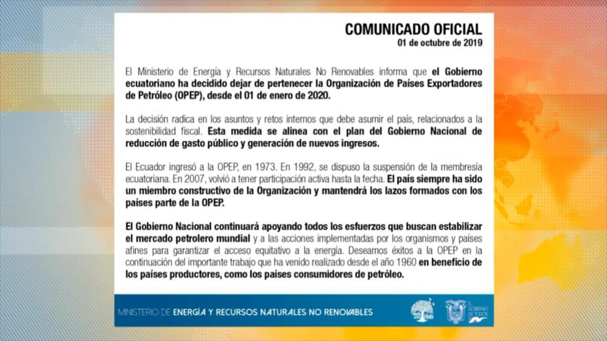 Ecuador, en medio de la crisis, anuncia salida de la OPEP